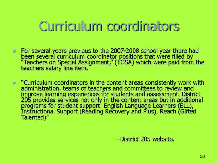 Curriculum coordinators