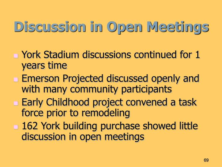 Discussion in Open Meetings
