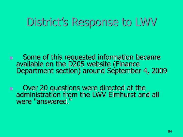 District's Response to LWV