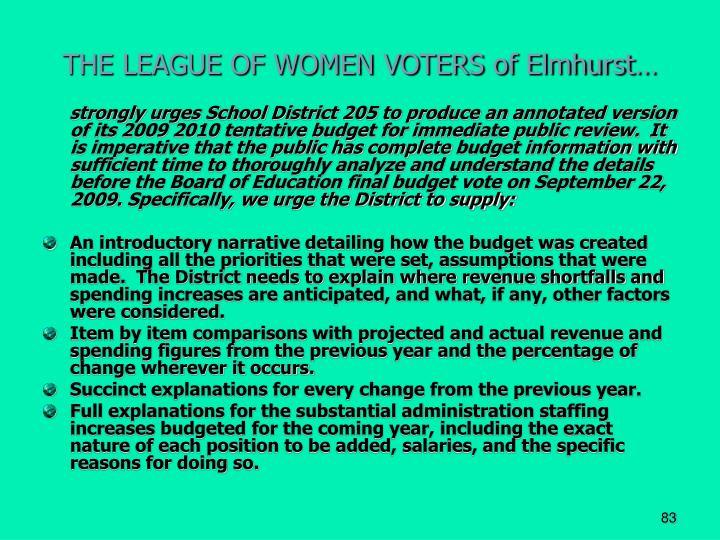 THE LEAGUE OF WOMEN VOTERS of Elmhurst…