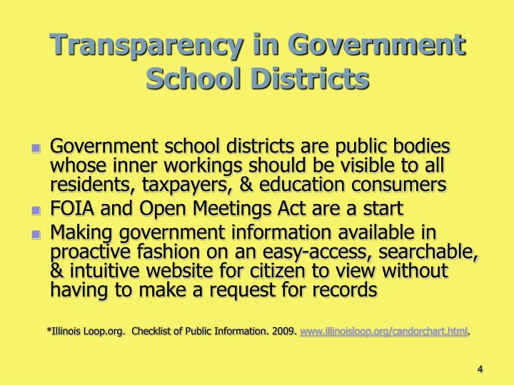Transparency in Government School Districts