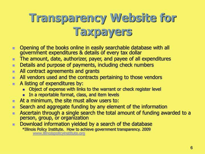 Transparency Website for Taxpayers
