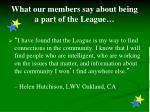 what our members say about being a part of the league