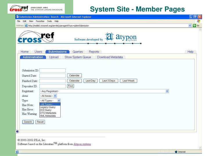 System Site - Member Pages