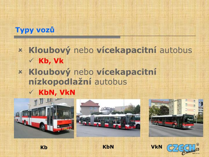 Typy vozů