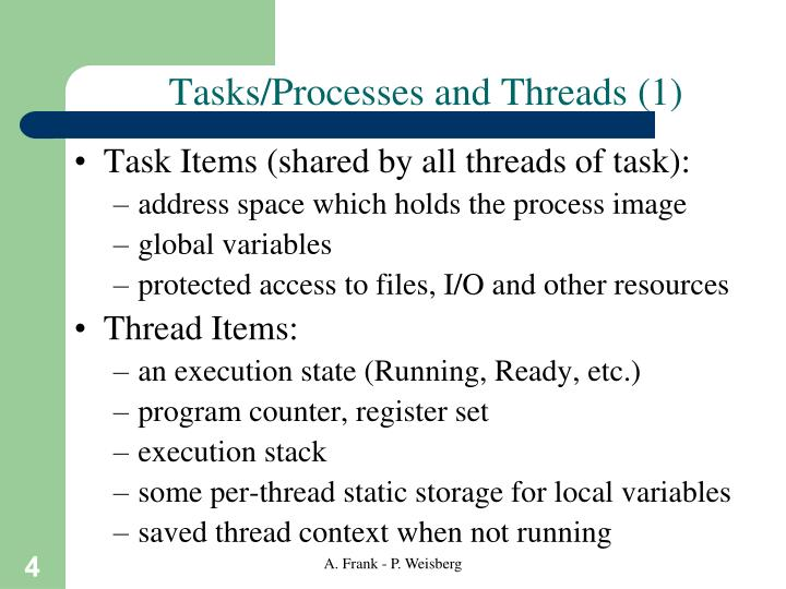 Tasks/Processes and Threads (1)