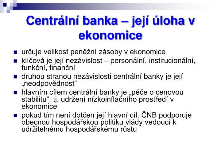 Centrální banka – její úloha v ekonomice