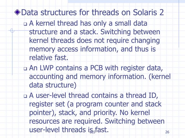 Data structures for threads on Solaris 2