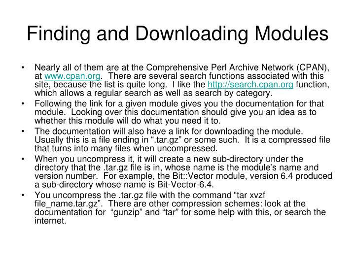 Finding and Downloading Modules