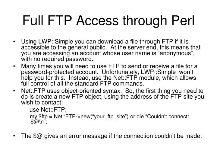 Full FTP Access through Perl
