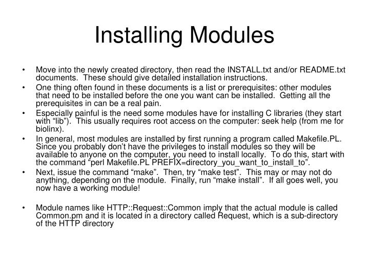 Installing Modules