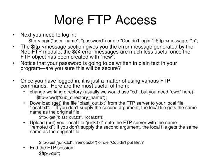 More FTP Access