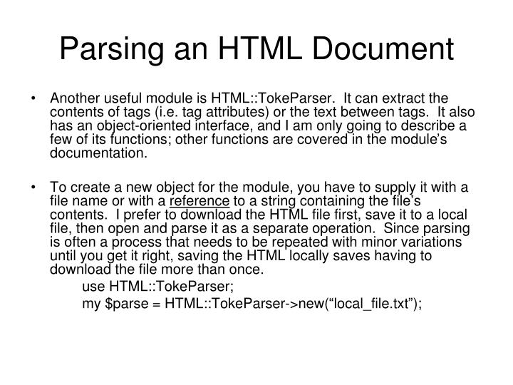 Parsing an HTML Document