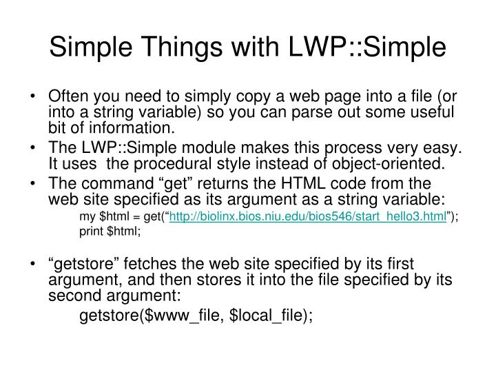 Simple things with lwp simple