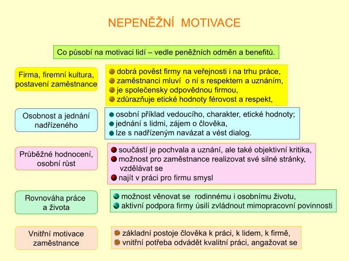 NEPENĚŽNÍ  MOTIVACE