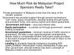how much risk do malaysian project sponsors really take
