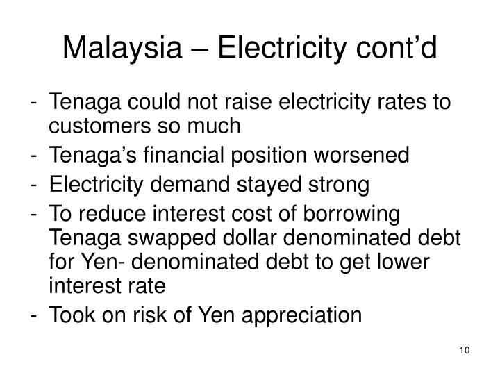 Malaysia – Electricity cont'd