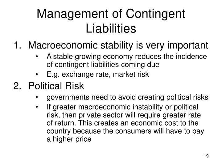 Management of Contingent Liabilities
