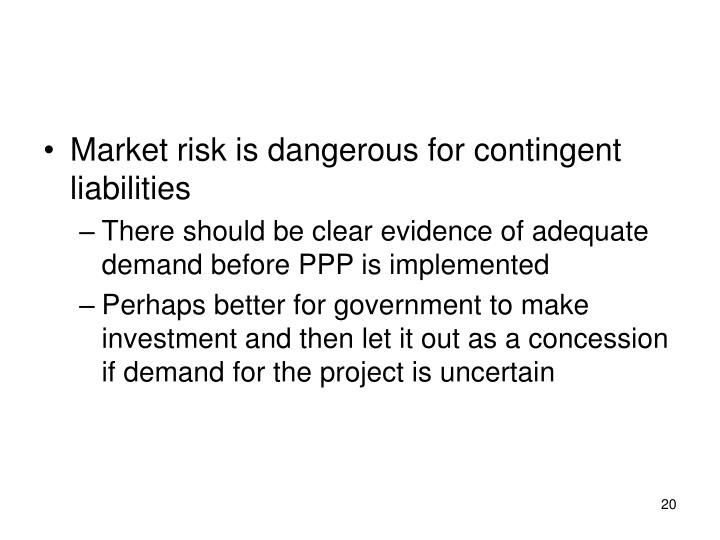 Market risk is dangerous for contingent liabilities