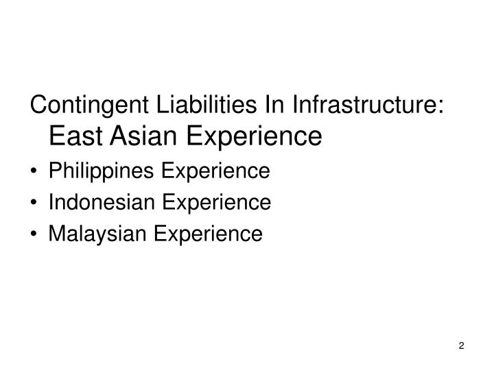 Contingent Liabilities In Infrastructure: