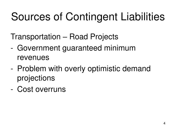Sources of Contingent Liabilities