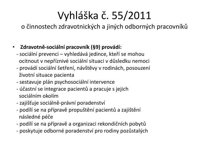 Vyhláška č. 55/2011