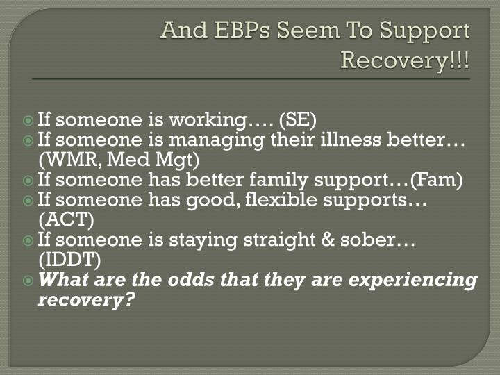 And EBPs Seem To Support Recovery!!!
