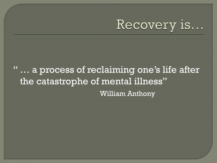 Recovery is…