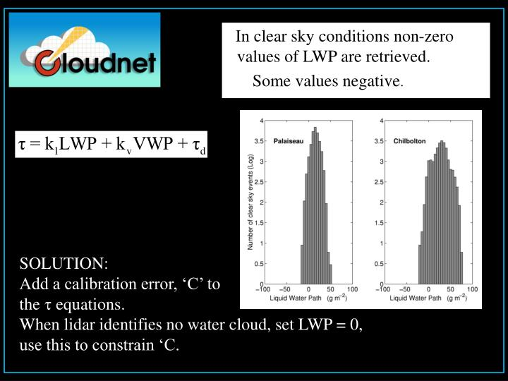 In clear sky conditions non-zero       values of LWP are retrieved.