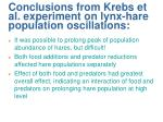 conclusions from krebs et al experiment on lynx hare population oscillations
