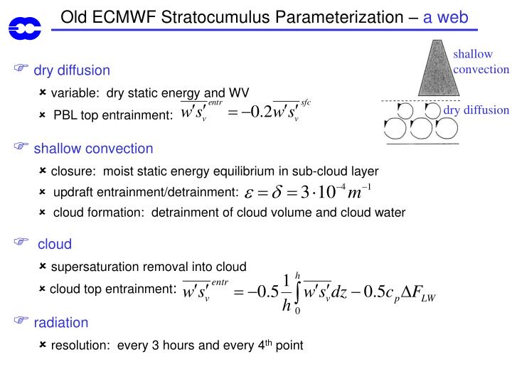 Old ECMWF Stratocumulus Parameterization –