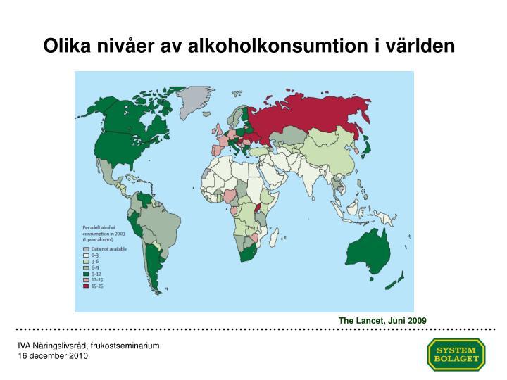 Olika nivåer av alkoholkonsumtion i världen