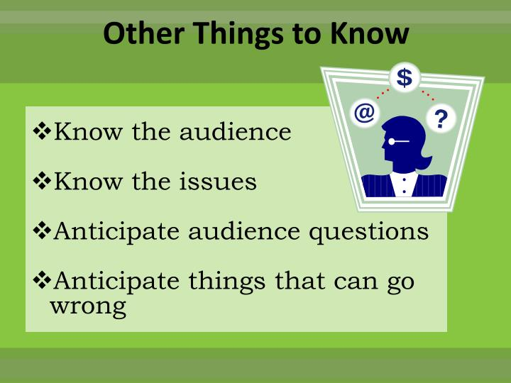Other Things to Know