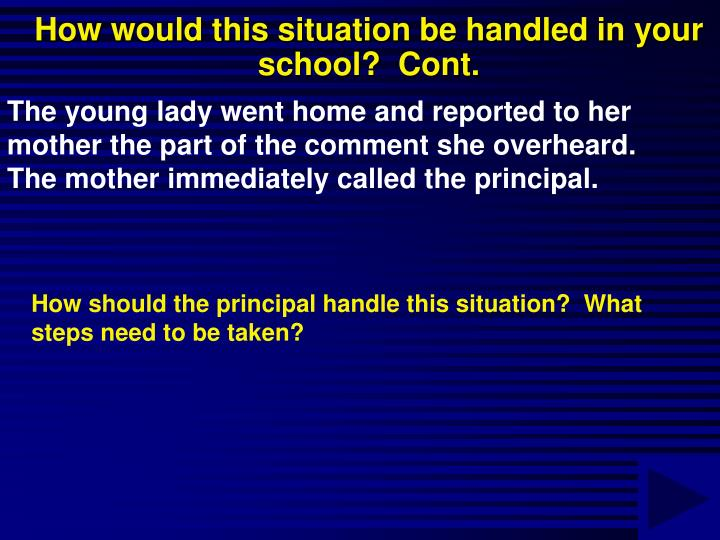 How would this situation be handled in your school?  Cont.