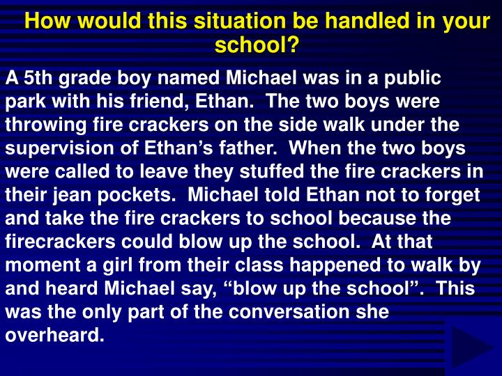 How would this situation be handled in your school?