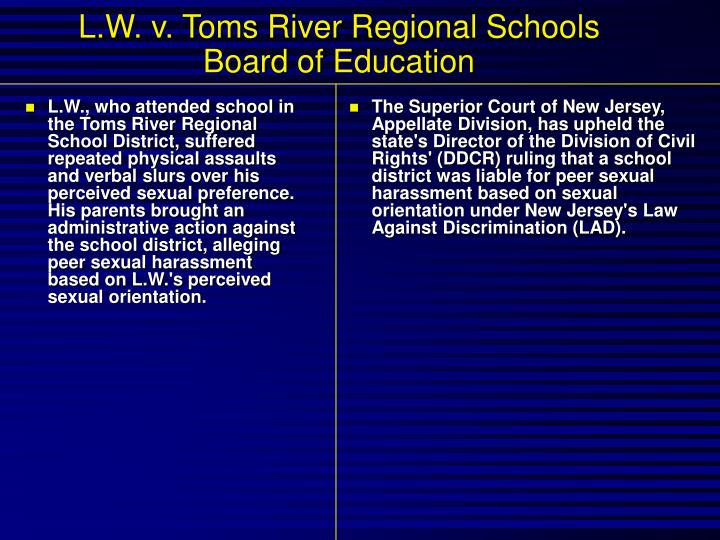 L.W., who attended school in the Toms River Regional School District, suffered repeated physical assaults and verbal slurs over his perceived sexual preference. His parents brought an administrative action against the school district, alleging peer sexual harassment based on L.W.'s perceived sexual orientation.