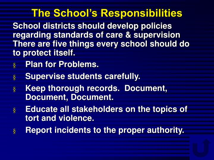 The School's Responsibilities