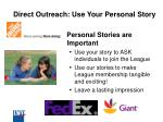 direct outreach use your personal story