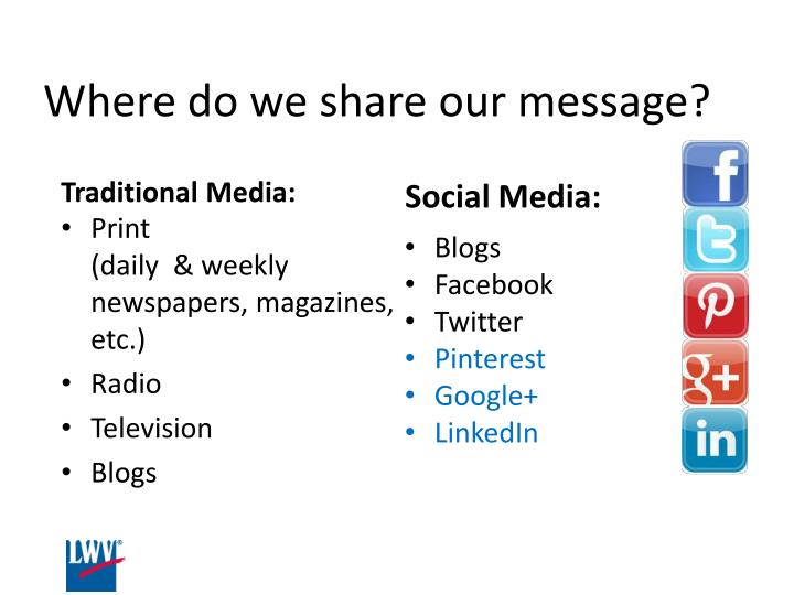 Where do we share our message?