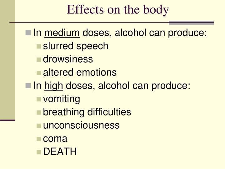 Effects on the body