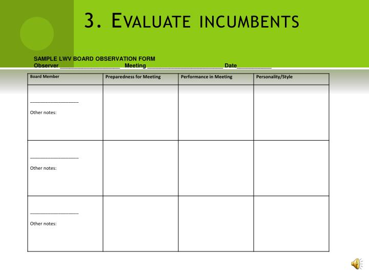 3. Evaluate incumbents