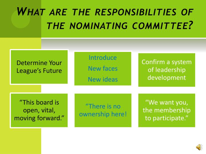 What are the responsibilities of the nominating committee?
