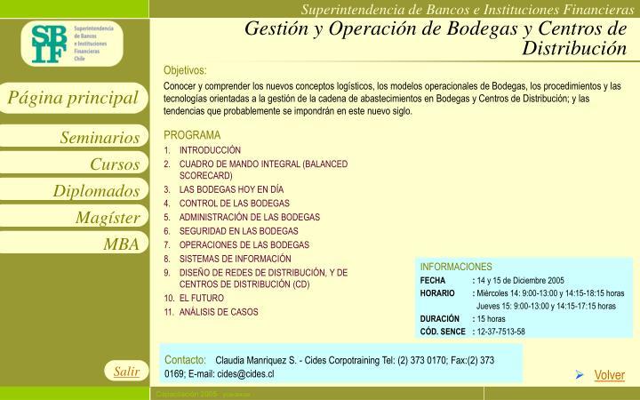 Gestión y Operación de Bodegas y Centros de Distribución
