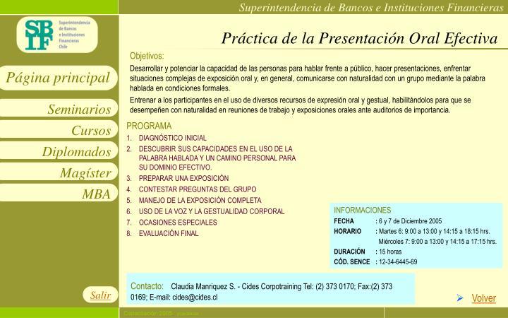 Práctica de la Presentación Oral Efectiva