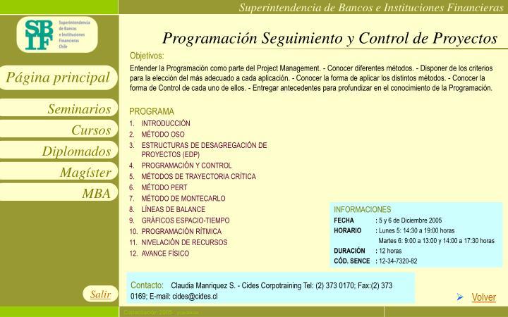 Programación Seguimiento y Control de Proyectos