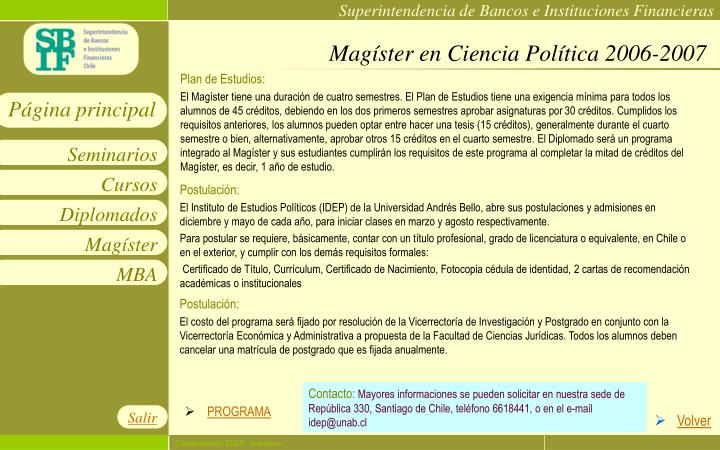 Magíster en Ciencia Política 2006-2007
