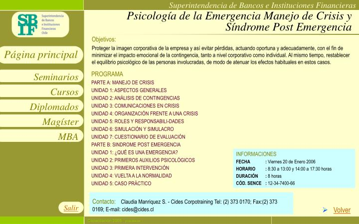 Psicología de la Emergencia Manejo de Crisis y Síndrome Post Emergencia