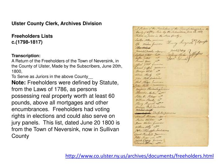 Ulster County Clerk, Archives Division