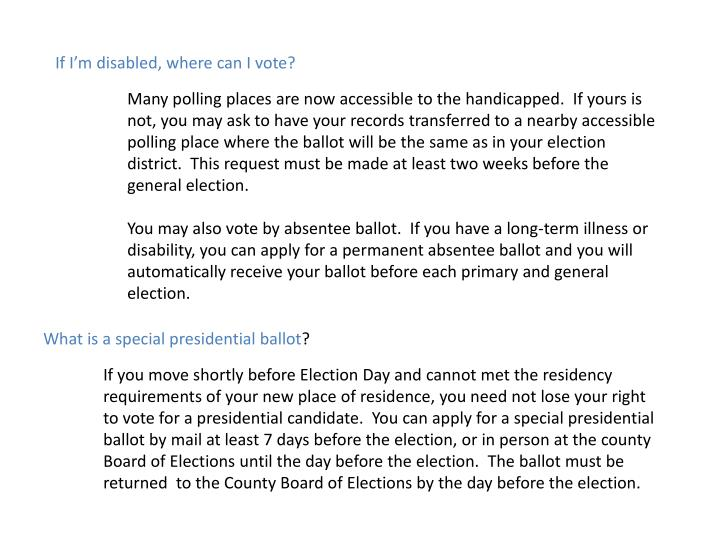 If I'm disabled, where can I vote?