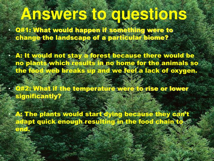 Answers to questions